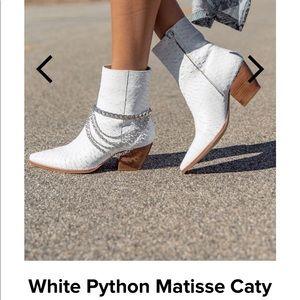 Matisse white python Caty bootie never worn!